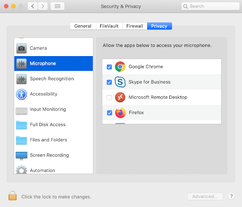 Security & Privacy Settings in MacOS Catalina for BigBlueButton